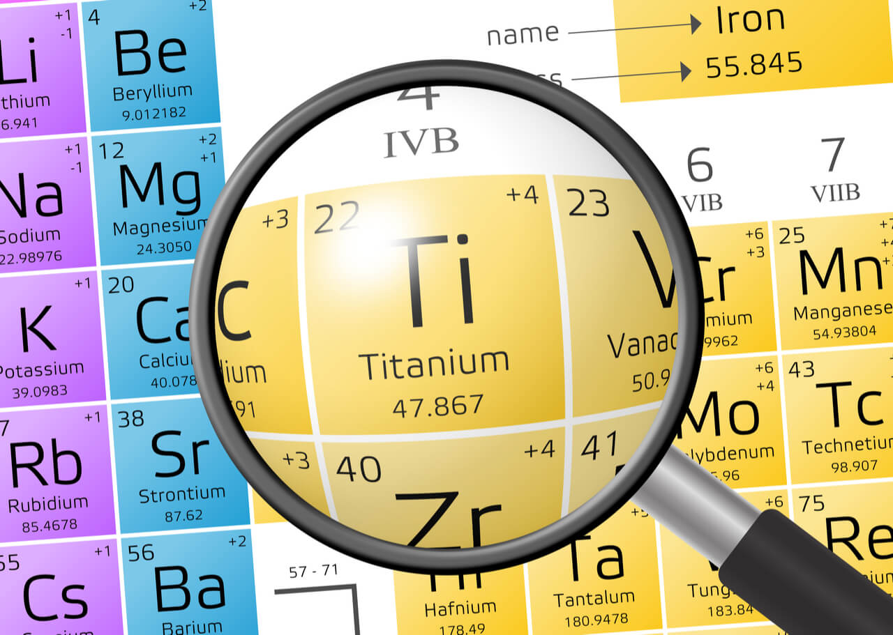 checking periodic table for chemical properties of titanium